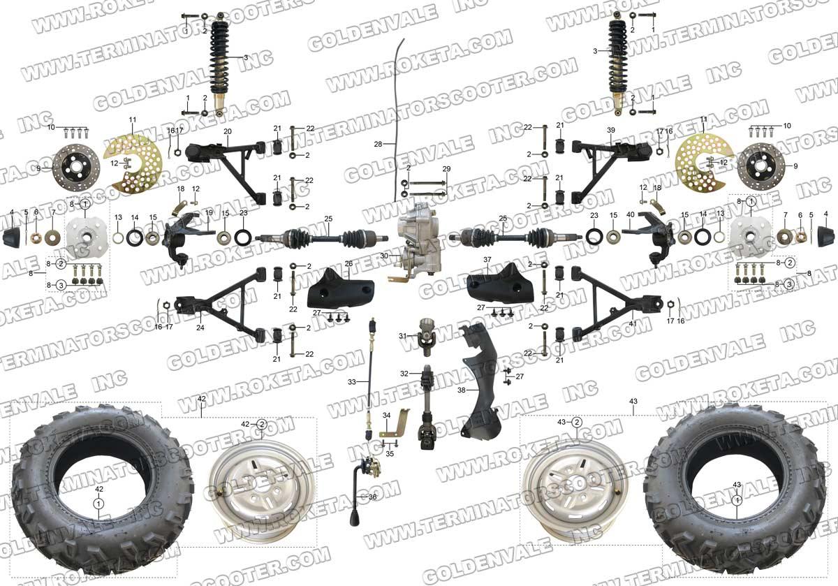 Roketa Atv 11 Front Wheel Assembly Parts