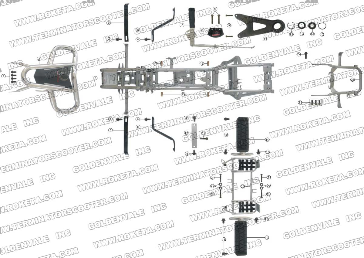 Roketa Atv 17w Frame Parts