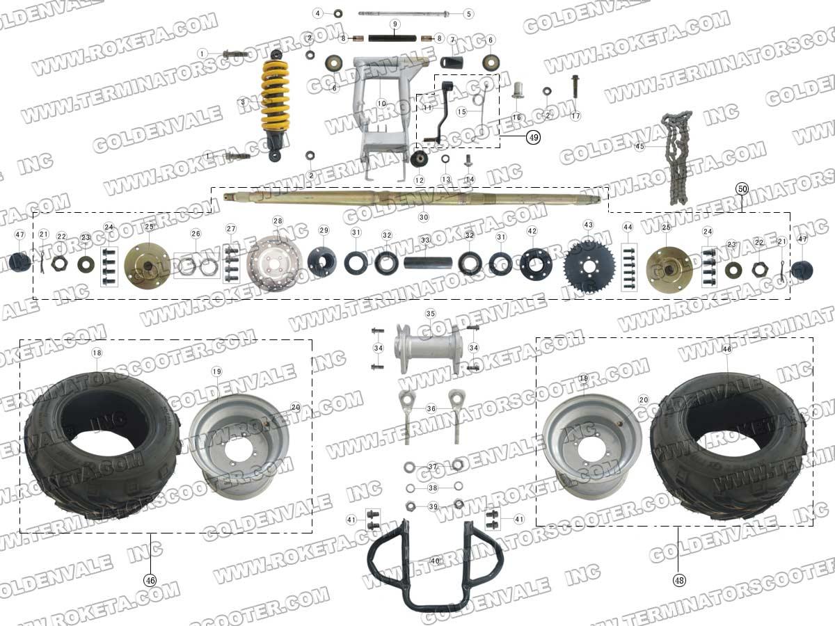 Roketa Atv 17w Rear Wheel Assembly Parts