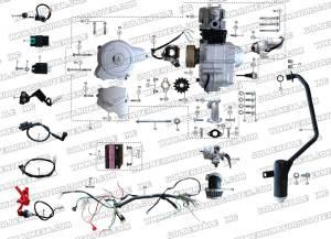 ROKETA ATV32 ENGINE, WIRING AND EXHAUST PARTS