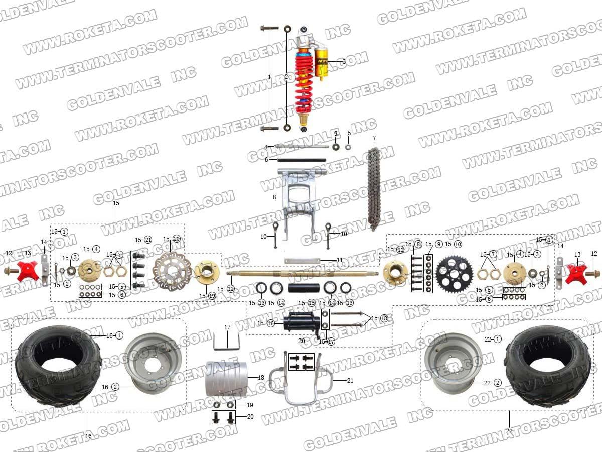 Roketa Atv 56 Rear Wheel Assembly Parts