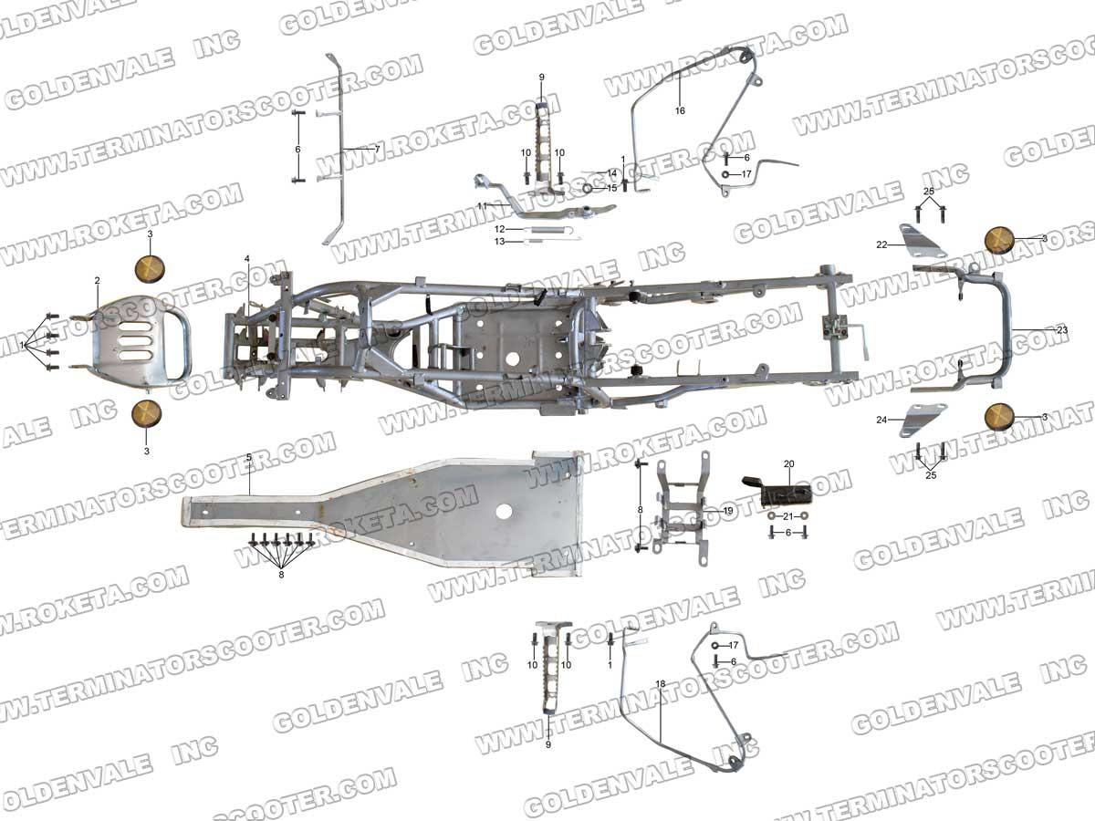 Roketa Atv 60 Frame Parts