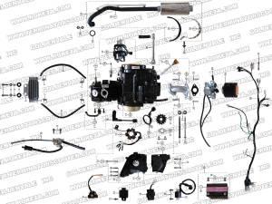 ROKETA ATV67 ENGINE, WIRING AND EXHAUST PARTS