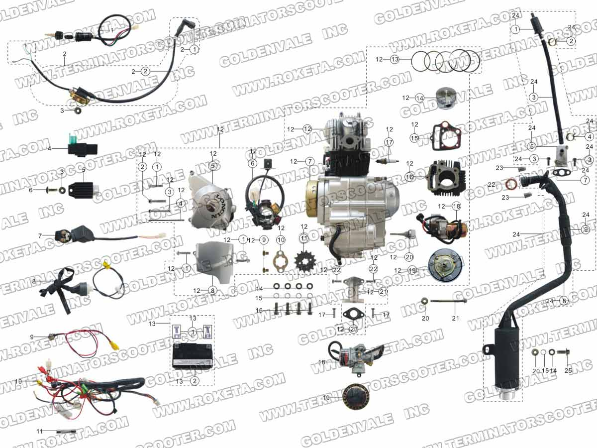 Roketa Atv 68 Engine Wiring And Exhaust Parts