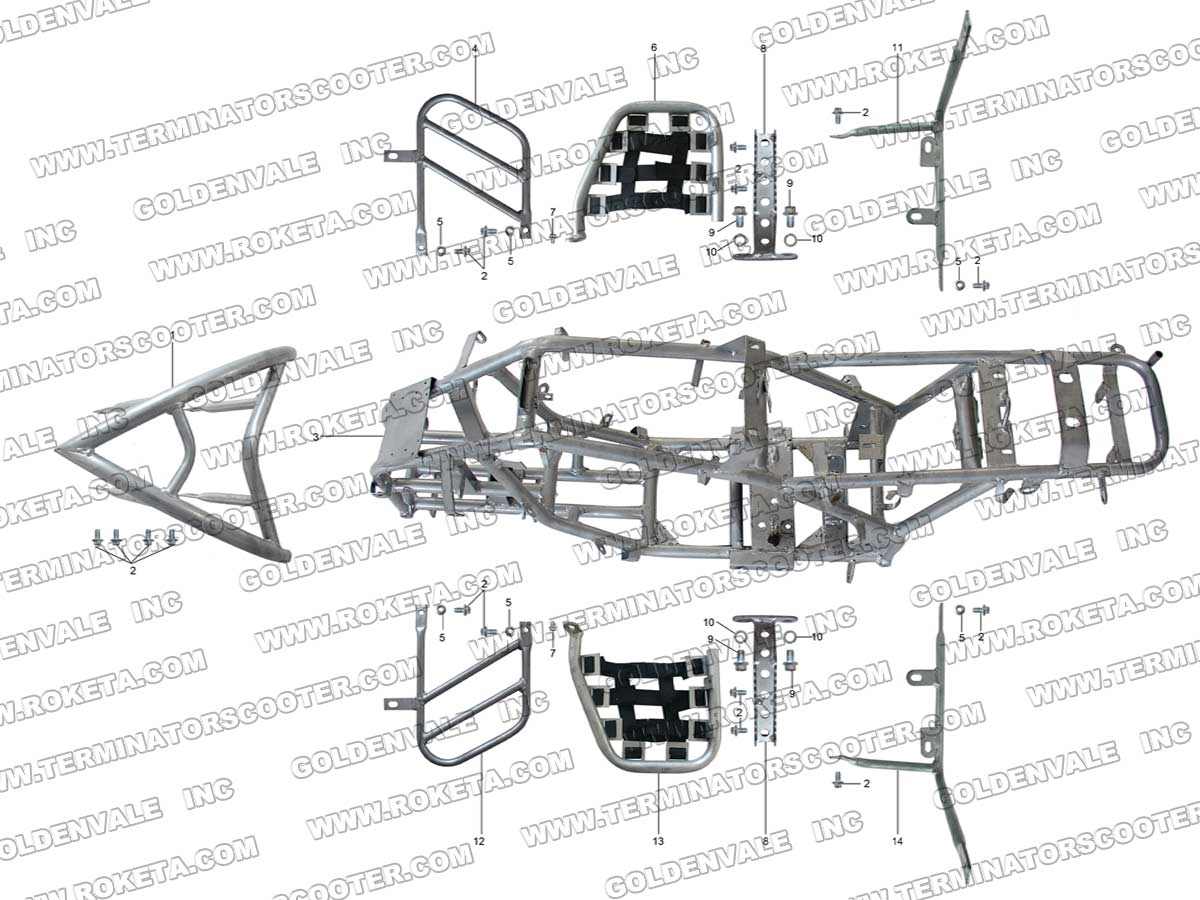 Roketa Atv 69 Frame Parts