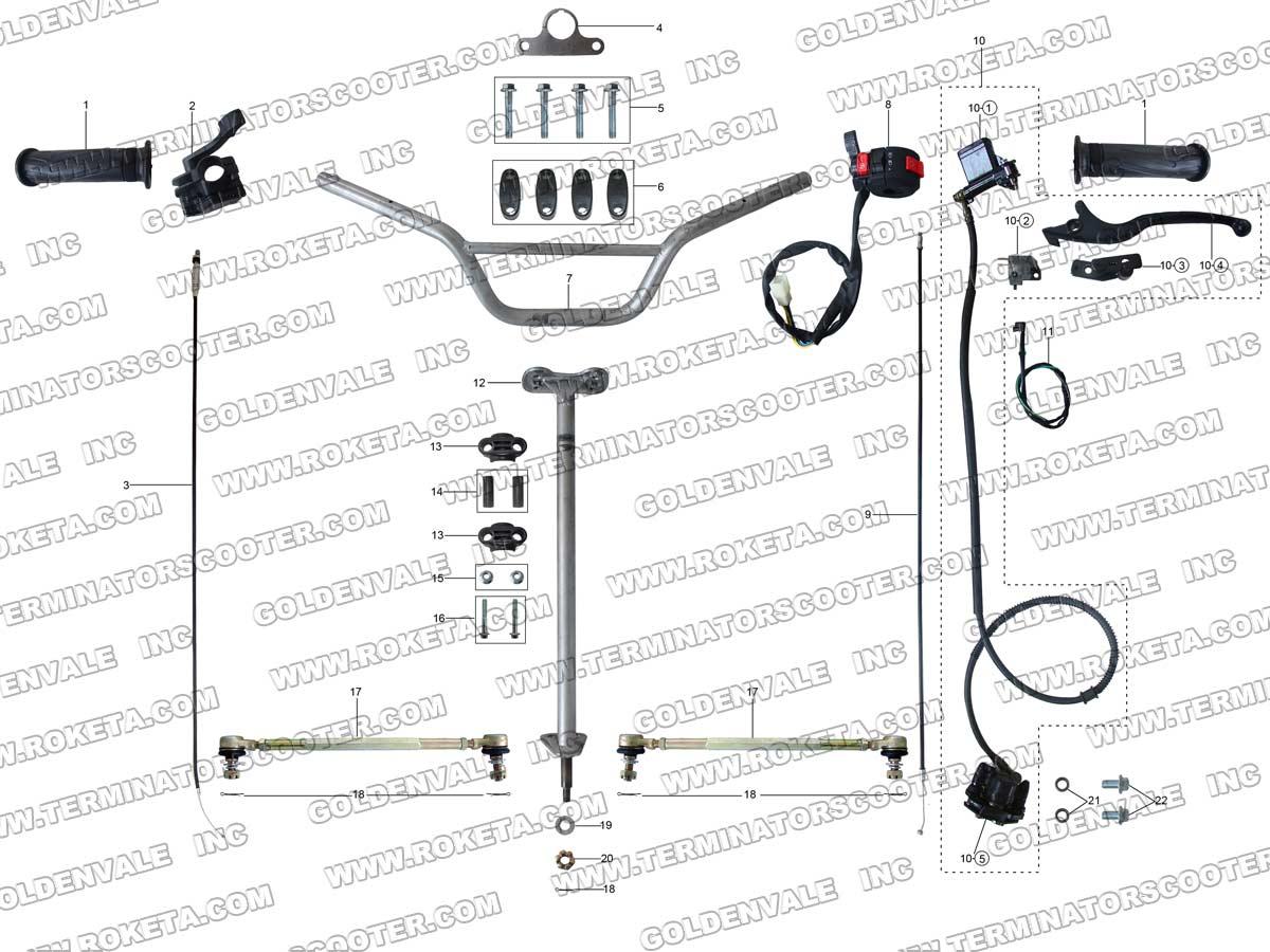 Roketa Atv 69 Steering Assembly Parts