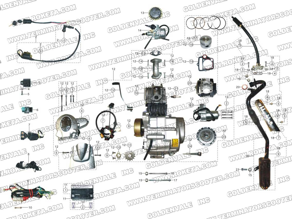 Roketa Atv 70 Engine Wiring And Exhaust Parts