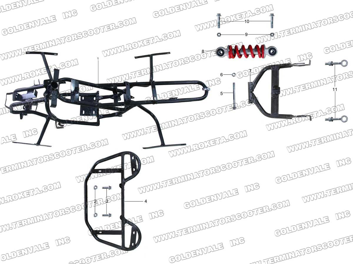 Roketa Atv 80 Frame Parts