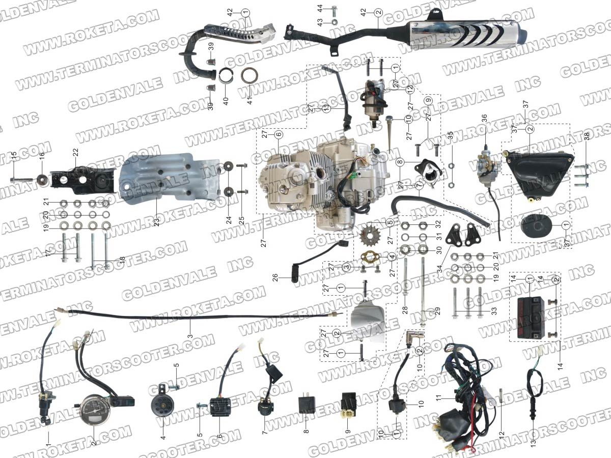 Roketa Db 07 Engine Wiring And Exhaust Parts