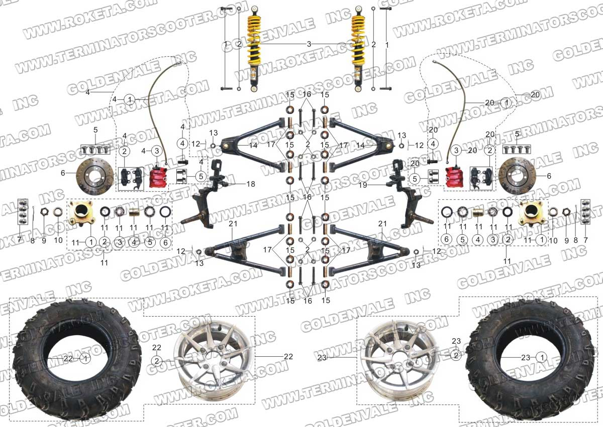 Roketa Gk 06 Front Wheel Assembly Parts