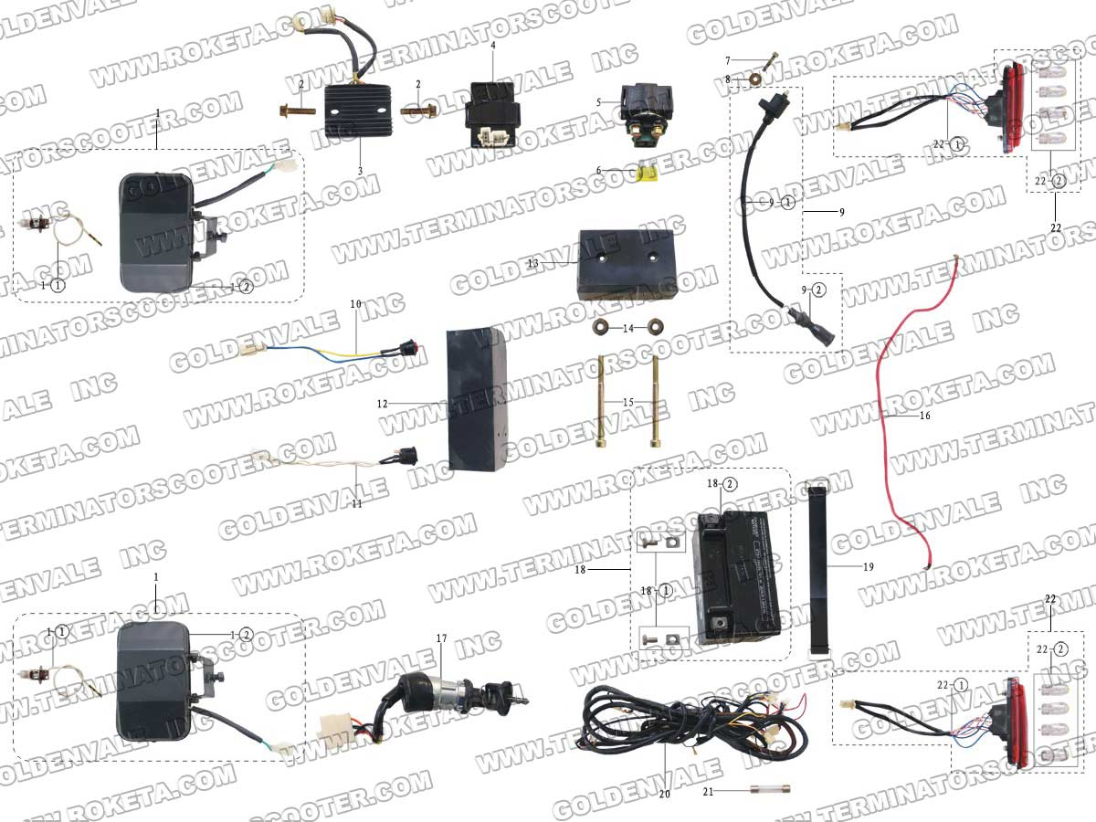 Roketa Gk 13 Electrical Parts