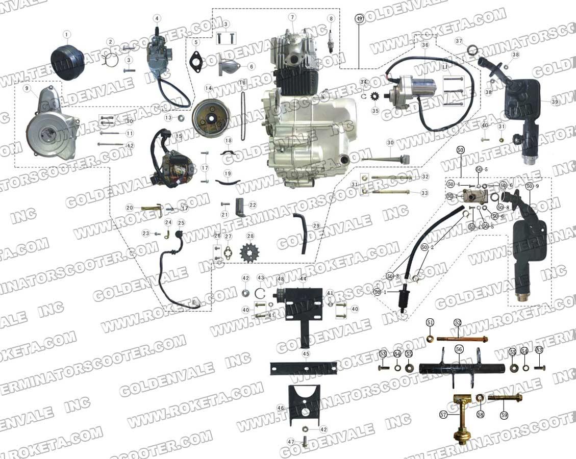 Roketa Gk 17k Engine And Exhaust Parts