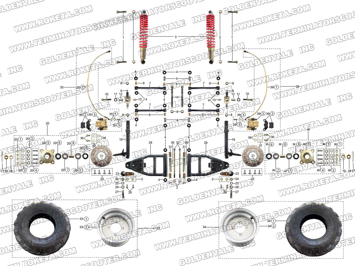 Roketa Gk 39 Front Wheel Assembly Parts
