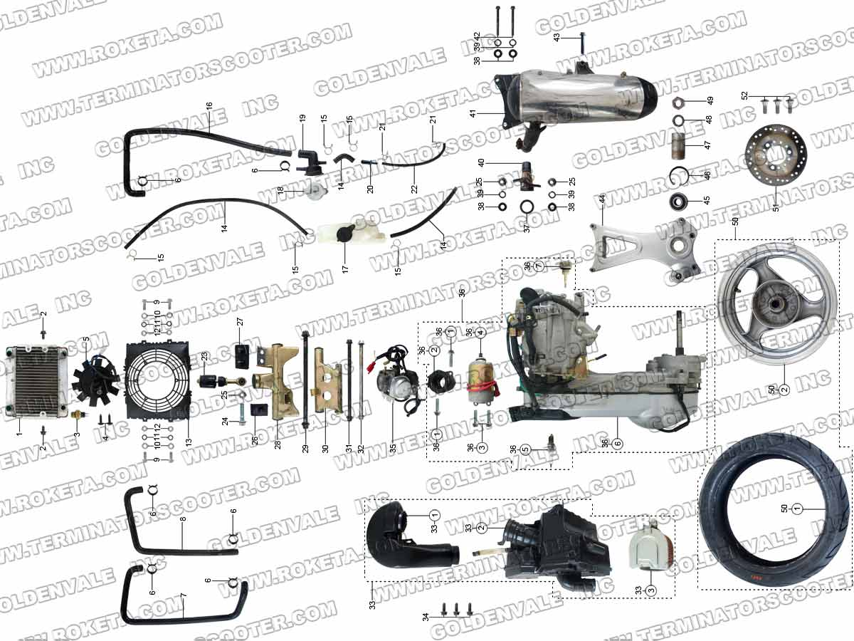 Roketa Mc 54 250 Engine And Exhaust Parts