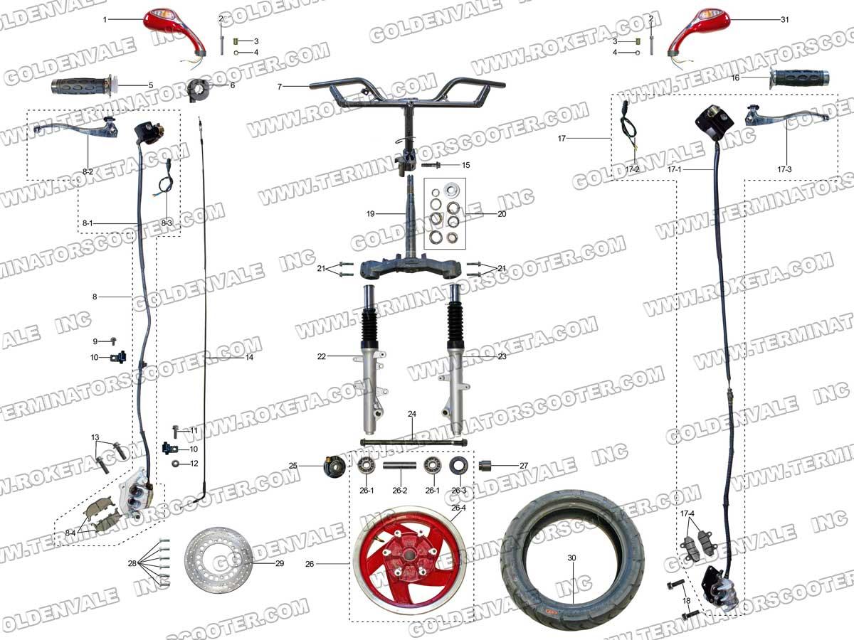 roketa mc 68a 150 steering assembly parts