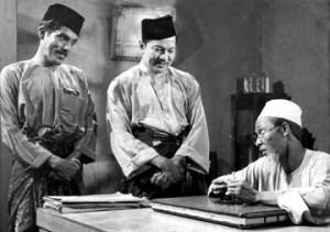 Kuala Lumpur 06 May 2014. Labu (M. Zain) and Labi (P. Ramlee) with a kadi (Aziz Sattar) in the movie