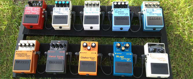 BOSS SXSW stompbox exhibit pedal board
