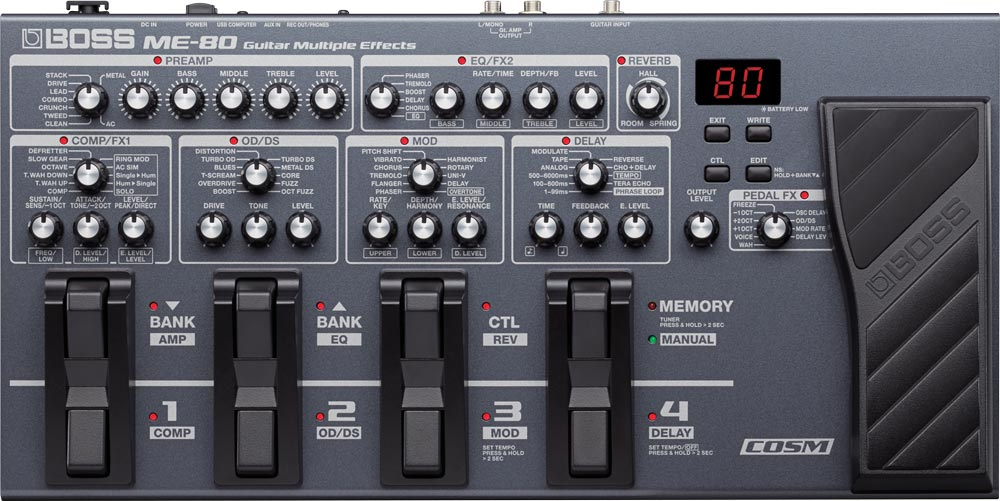 BOSS ME-80 Guitar Multiple Effects Top View