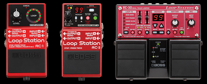 BOSS compact Loop Station pedals: RC-1, RC-3, and RC-30