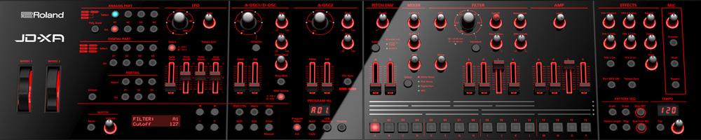 Roland JD-XA Analog/Digital Crossover Synthesizer Control Panel