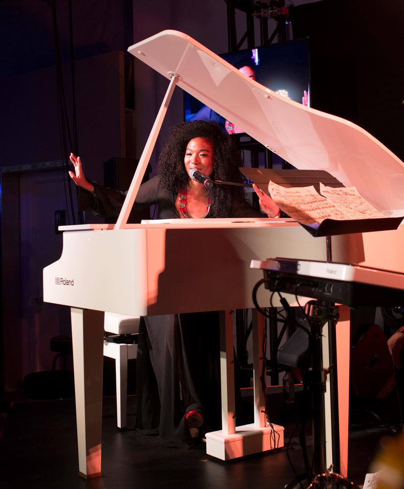 Judith Hill performs on Roland's new GP607 mini grand piano.