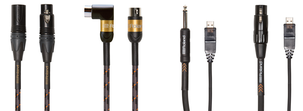 Left to right: Gold Series Quad microphone cable, Gold Series MIDI cable, Black Series 1/4-inch to USB cable, Black Series XLR to MIDI cable.