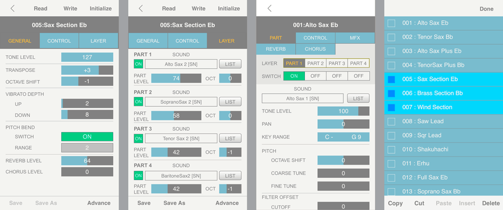 Sample screenshots from the Aerophone Editor app.
