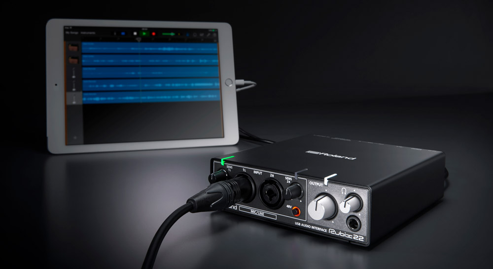 Pairing the Rubix22 with an Apple iPad creates a mobile music production setup with exceptional sound quality.