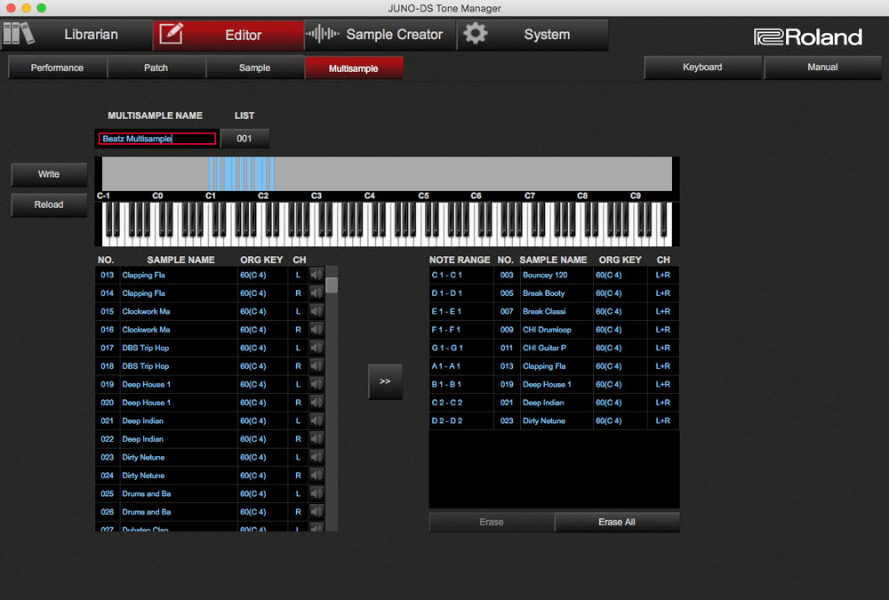 JUNO-DS Tone Manager: Multisample screen.