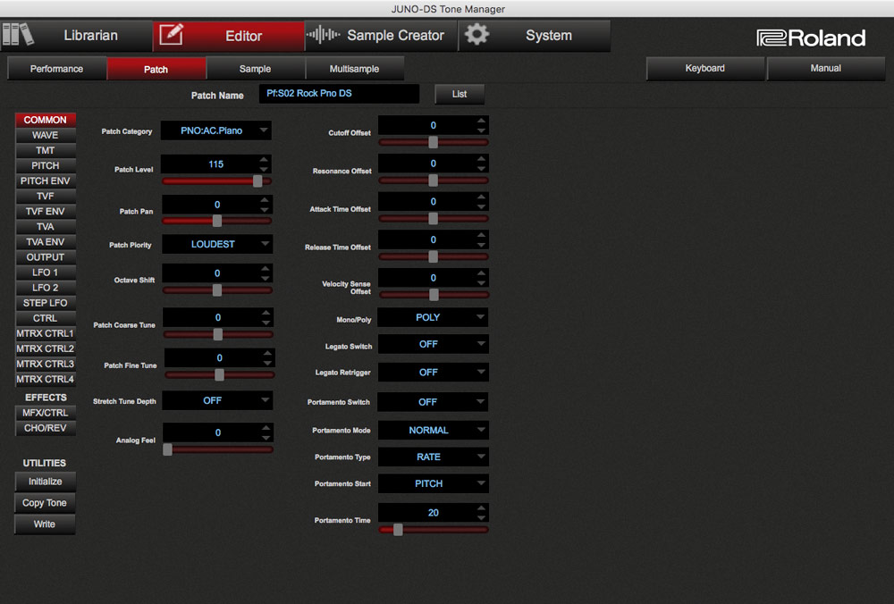 JUNO-DS Tone Manager: Patch edit screen.