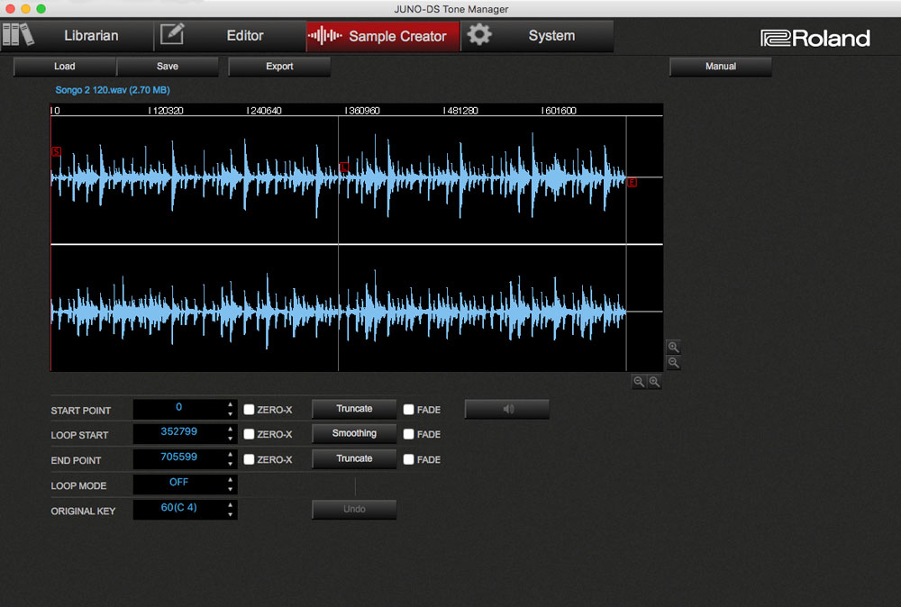 JUNO-DS Tone Manager: Sample Creator screen.