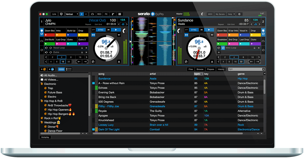 Serato DJ Pro main screen.