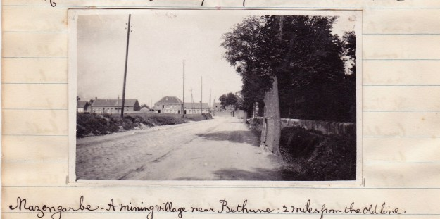 Mazingarbe in 1921. Photo taken by Pips during a cycle tour of the battlefields, and posted into his journal. By permission of the Surrey History Centre (Ref: 2332/9/7)