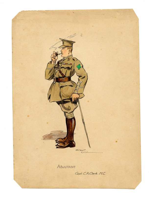 Lt (later Captain) C A Clark MC, as drawn by Private Edward Cole of the 9th East Surreys. By permission of the Surrey History centre (Ref: ESR/19/2/7/1-15)