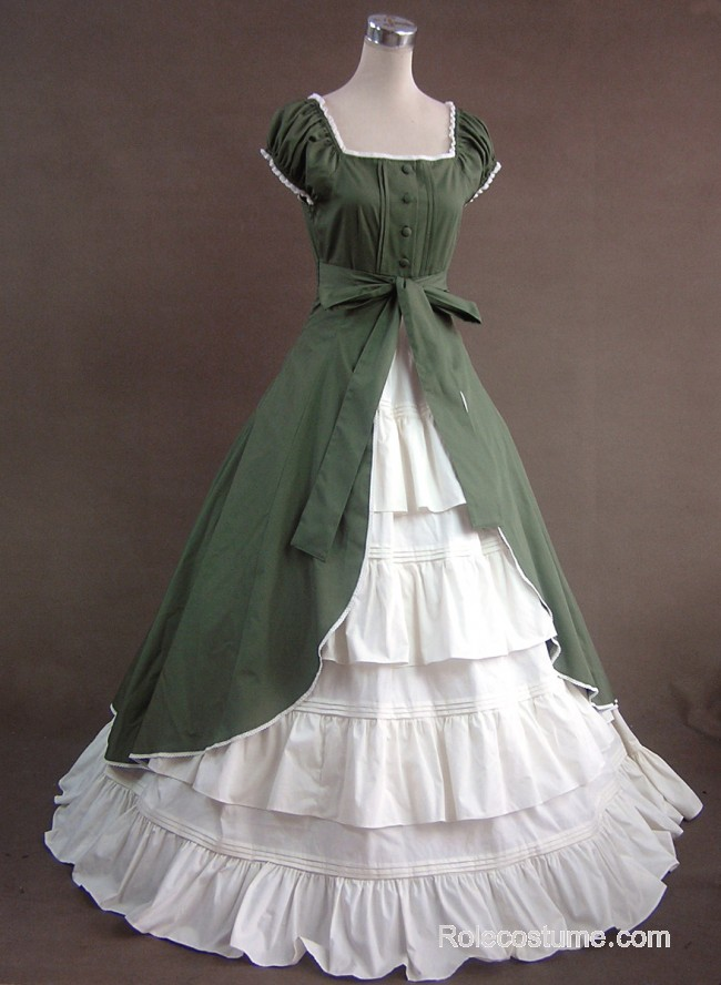Green And White Short Sleeves Floral Double Layer Lolita