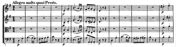 Beethoven, string quartet op.18/2, mvt.4, score sample