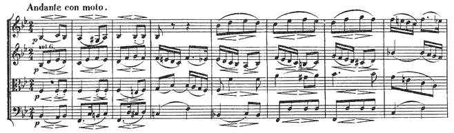 Beethoven, string quartet op.18/3, mvt.2, score sample