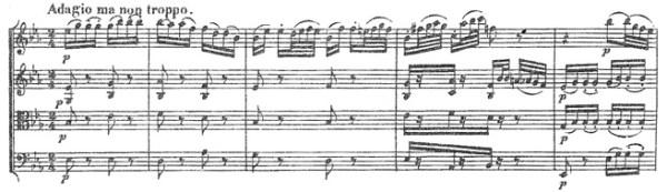 Beethoven, string quartet op.18/6, mvt.2, score sample