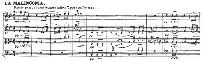 Beethoven, string quartet op.18/6, mvt.4, score sample, Adagio