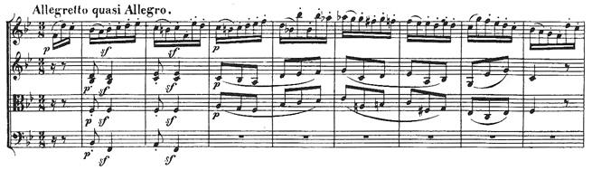 Beethoven, string quartet op.18/6, mvt.4, score sample, Allegretto