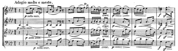 Beethoven, string quartet op.59/1, mvt.3, score sample