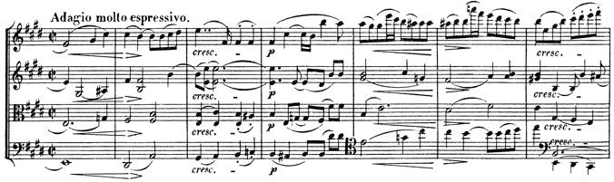 Beethoven, string quartet op.127, mvt.2, score sample, Adagio molto espressivo