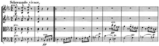 Beethoven, string quartet op.127, mvt.3, score sample, Scherzando vivace