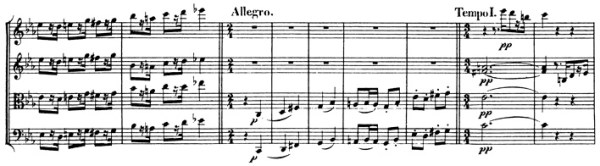 Beethoven, string quartet op.127, mvt.3, score sample, Allegro