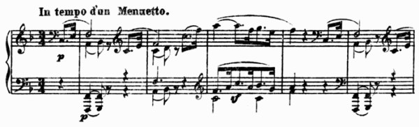 Beethoven, piano sonata No.22 F major, op.54: mvt 1, theme #1, score sample