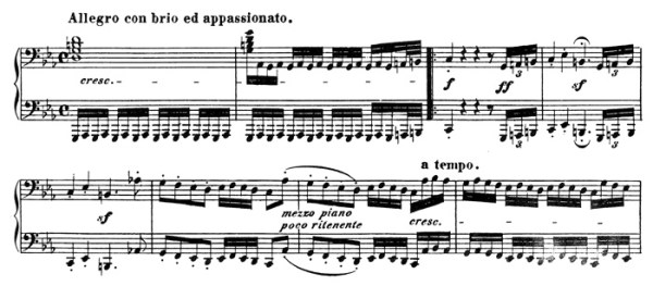 Beethoven, piano sonata No.32 C minor, op.111: mvt 1, score sample 2: Allegro con brio ed appassionato
