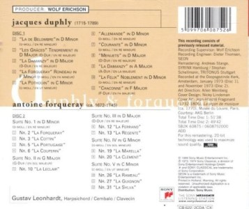 Duphly & Forqueray, Leonhardt, CD, cover, back / track listing