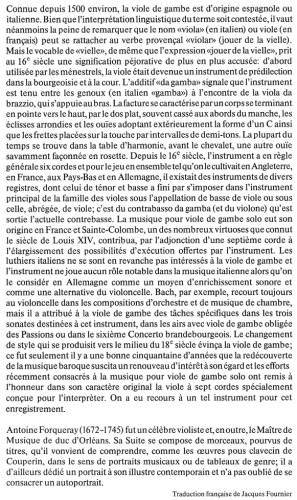 Antoine de Forqueray: Pièces de viole, Savall, LP cover, descriptive text, French