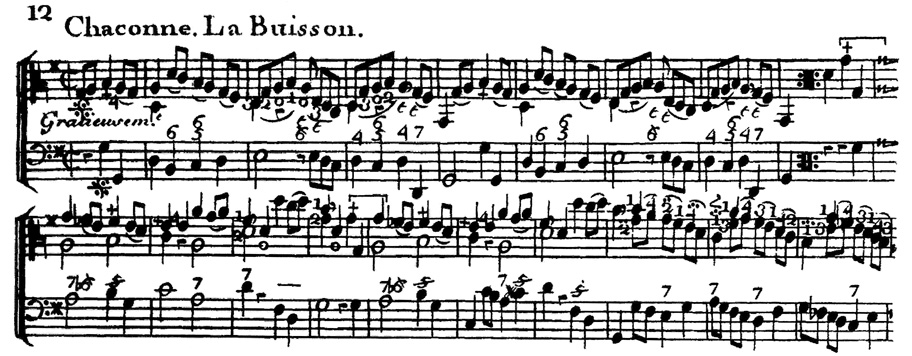 """Forqueray, Chaconne """"La Buisson"""", score"""