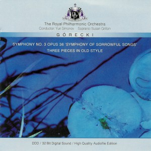 Górecki: Symphony #3 op.36, 3 Pieces in Old Style - Simonov, Gritton, CD cover